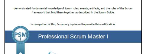 Certificação Professional Scrum Master (PSM I)
